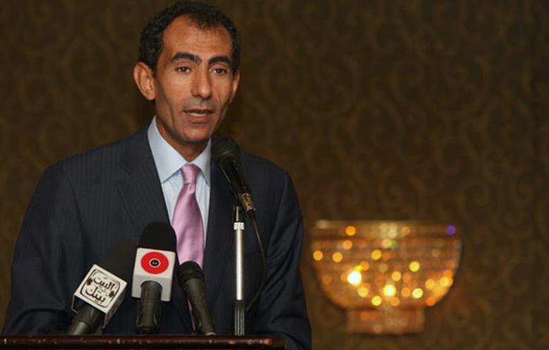 Yosri Fouda speaks to the media (AFP)