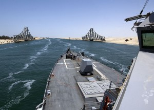 The guided-missile destroyer USS James E. Williams transits Suez Canal ... 09.02.2012