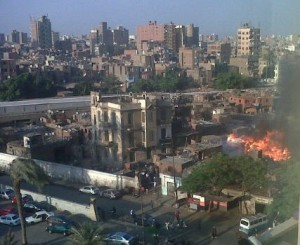 Photo taken of the blaze at Nile Towers circulated on twitter (photo by Dina El-Sebaie)