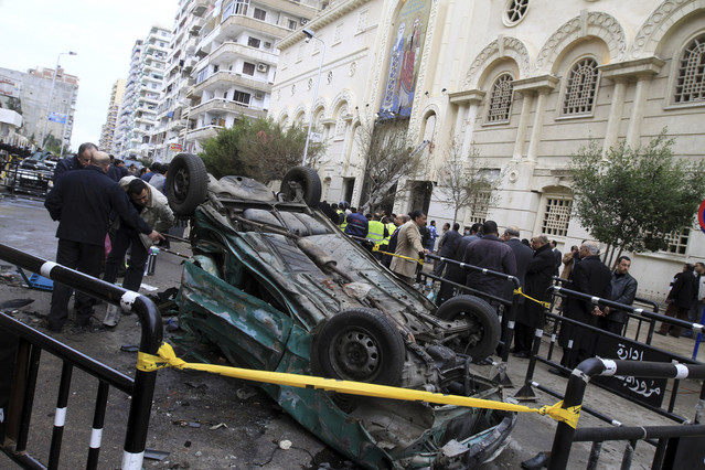 The scene of the bombing outside the Al-Qiddissine church in Alexandria, back in 2011 (AFP/Mohammed Abed)