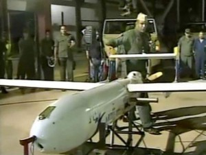 "A screengrab from a video released by the Venezuelan Ministry of Defense shows President Hugo Chavez inaugurating Iranian made ""Mohajer 2"" drones"