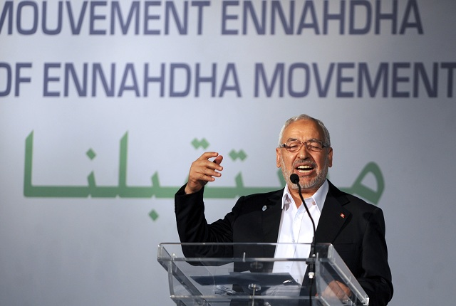 The head of Tunisia's ruling Islamist party Ennahda, Rached Ghannouchi gestures at the launch of its first congress at home in 24 years, on 12 July 2012 in Tunis (AFP PHOTO / FETHI BELAID)
