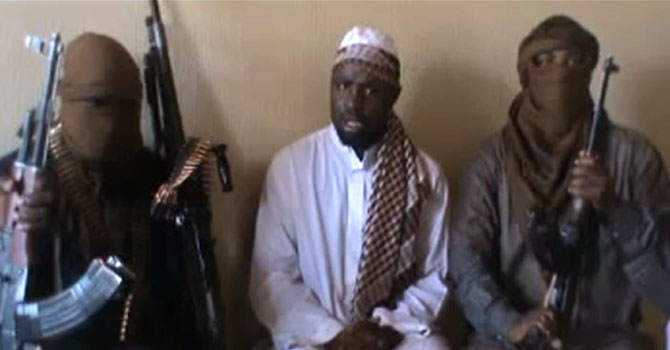 A screengrab taken from a video released on YouTube shows Boko Haram leader Abubakar Shekau AFP PHOTO / YOUTUBE