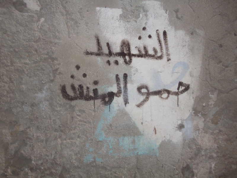 """Hamo Al-Mansh the martyr"" written by Abdullah Mohamed Youssed on the walls of house in blood Hanaa Aboul Ezz"