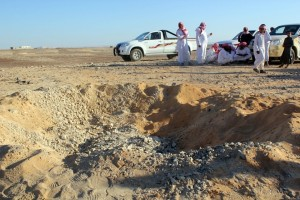 Egyptian Bedouins gather at the scene of an explosion in Sinai near the Israeli borders AFP PHOTO/STRINGER