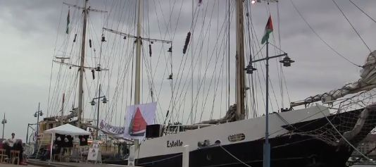 A screengrab from a youtube clip shows the Estelle, a ship voyaging to break the Gaza blockade from Sweden