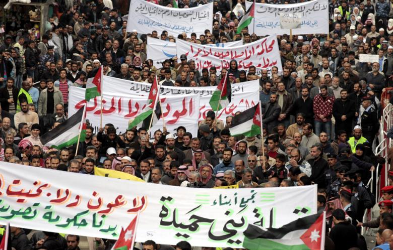 In Amman, Islamic Action Front supporters shouts anti-Government slogans during a rally in 2011 (AFP / Khalil Mazraawi)