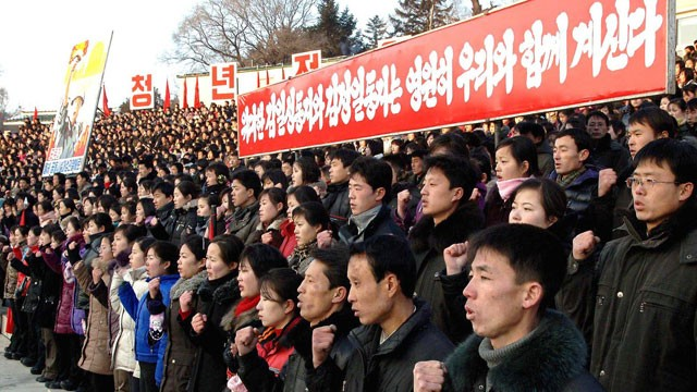 North Korean youth chant slogans at a rally (File photo) KCNA / AFP PHOTO