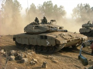 Israeli army MerKava tanks take part in a training exercise in early 2012 (File photo) AFP PHOTO