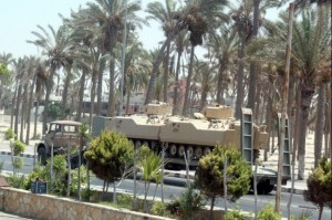 Egyptian military forces have been deployed across Sinai, with tanks, armoured personnel carriers and soldiers spread across the peninsula's main and international roads. AFP / Stringer