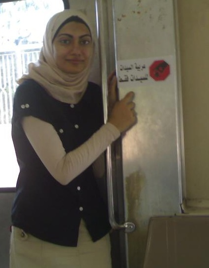 One of the campaign stickers placed on Metro trains Shereen Badr