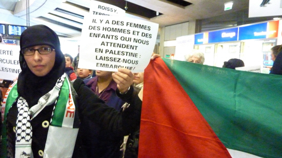 Dozens of pro-palestinian activists taking part in the 'Welcome to Palestine' campaign protest at the Roissy International airport in April 2012 in Roissy-en-France, northern Paris suburb, after being denied to board planes to Israel (File photo) AFP PHOTO