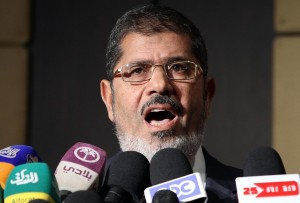 President Mohamed Morsi speaks during a press conference in Cairo (File photo) AFP PHOTO
