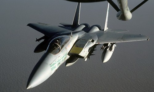 Royal Saudi Air Force F-15 Eagles refuels in mid-air AFP PHOTO