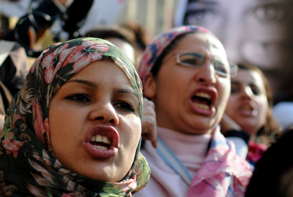 Egyptian women demonstrate in Cairo (MOHAMMED HOSSAM/AFP)