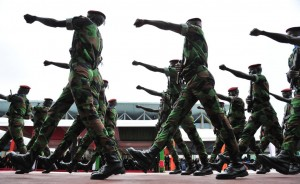 Soldiers of the Ivory Coast army march on August 7, 2012, near the presidential palace in Abidjan during celebrations marking the 52nd anniversary of the country's independence from France. AFP PHOTO / ISSOUF SANOGO