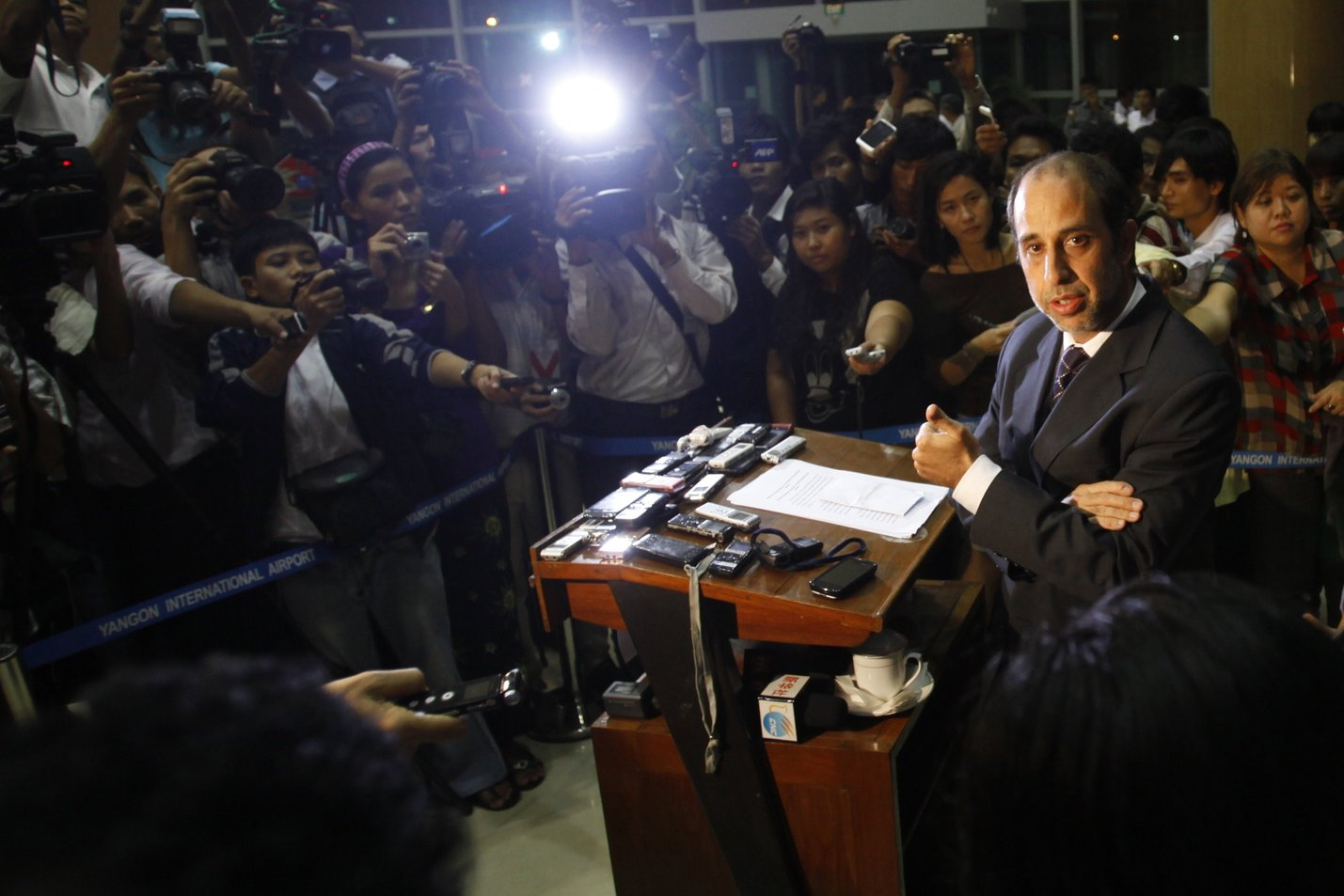 United Nations Human Rights envoy Tomas Ojea Quintana talks to journalists during a press conference at the Yangon international airport on 4 August AFP PHOTO / YE AUNG THU