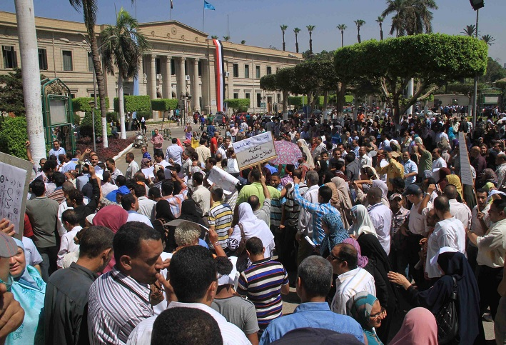 Cairo University staff protest after going on strike at the beginning of the academic year Mohamed Omar