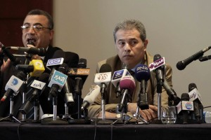 Tawfik Okasha appears at a press conference on 29 August (File photo) Mohamed Omar