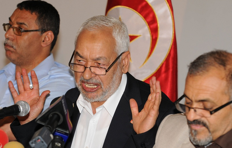 Tunisia's ruling Islamist party Ennahda founder and president Rached Ghannouch who ash been accused by opposition activists of increasingly authoritarian behaviour, speaks during a press conference in Tunis AFP PHOTO / SALAH HABIBI