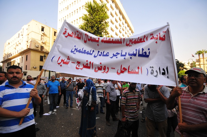 Teachers continued to demonstrate outside the Cabinet Office buildings on Qasr El-Aini street Hassan Ibrahim / DNE