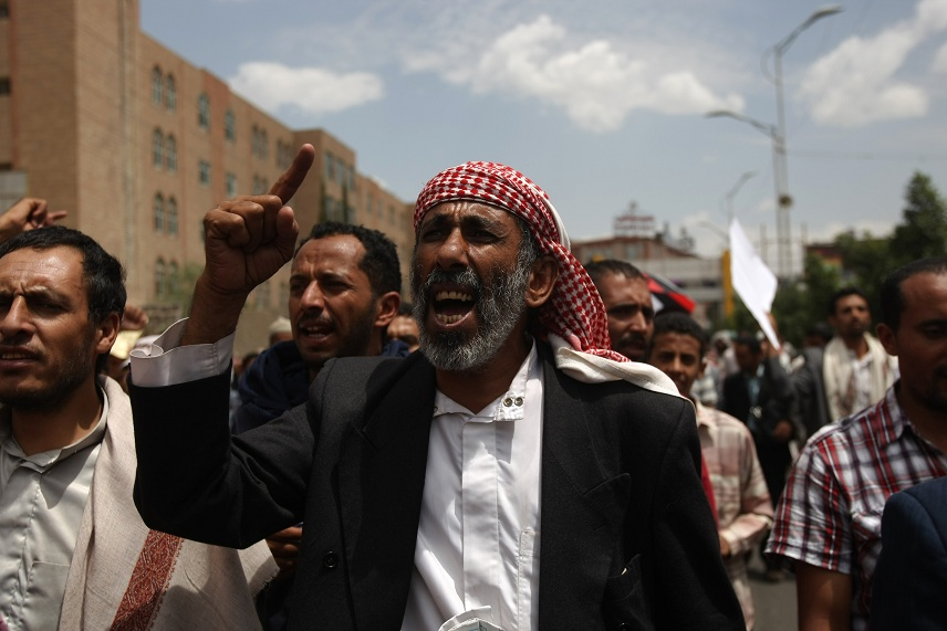 Yemeni Protestor chant slogans during a demonstration against terrorism and assassinations in the capital Sanaa AFP PHOTO/MOHAMMED HUWAIS