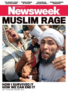 "Newsweek cover page with ""Muslim Rage"" headline"