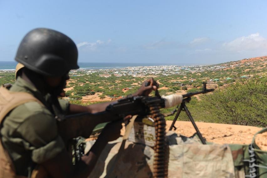 Burundi African Union forces arrive in Marka on 14 September, 73 Km East of Mogadishu AFP PHOTO / SIMON MAINA