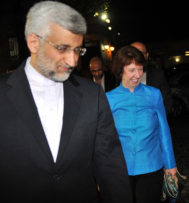 Iran's top nuclear negotiator Saeed Jalili meets with European Union foreign policy chief Catherine Ashton at the consulate of Iran in Istanbul, during talks on Tehran's disputed atomic programme AFP PHOTO / BULENT KILIC