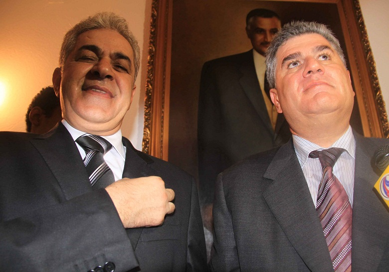 Hamdeen Sabahi stands with Abdel Hakim Abdel Nasser, one of Gamal Nasser's sons, at the mausoleum of the former president on the anniversary of the 27 July revolution (File photo) Mohamed Omar