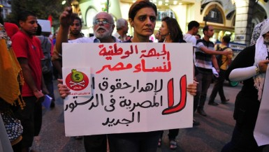 "A supporter of the National Front for Egyptian Women joins a march from Talaat Harb Square holding a sign that says ""no to wasting women's rights in the new constitution"" Hassan Ibrahim / DNE"