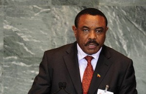 Hailemariam Desalegn, who was Foreign Minister at the time, addresses the UN General Assembly on 26 September 2011 AFP PHOTO / EMMANUEL DUNAND