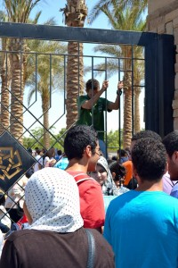 AUC students close the campus gates during a protest on 16 September Wajih Fakhouri / The Caravan