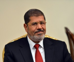 Morsy gave a live interview on Egyptian state TV from the Presidential Palace AFP PHOTO / KHALED DESOUKI
