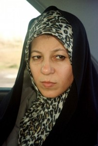 Faezeh Hashemi, daughter of Iran's former president Akbar Hashemi-Rafsanjani in her car in the northern Iranian city of Rasht (File photo) AFP PHOTO / JEAN MICHEL CADIOT