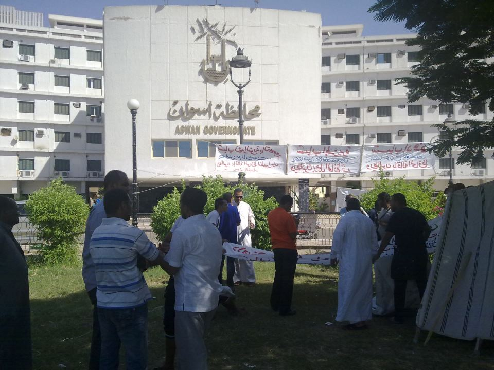 Protesters continue a sit-in outside government offices in Aswan demanding the removal of the governor Amir Mamdouh