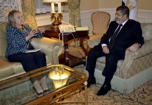 President Mohamed Morsy meets with United States Secretary of State Hillary Rodham Clinton in New York AFP PHOTO / TIMOTHY A. CLARY