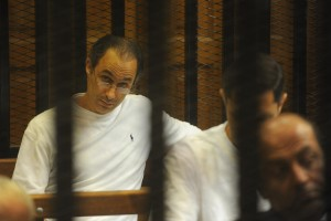 Gamal Mubarak listens during a court hearing (File photo) Mohamed Omar