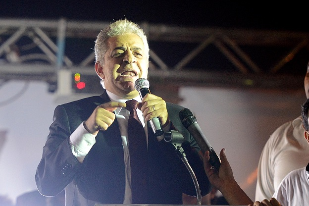 Hamdeen Sabahi addresses the crowd during a rally of the Popular Coalition at the Abdeen Palace MOHAMED OMAR
