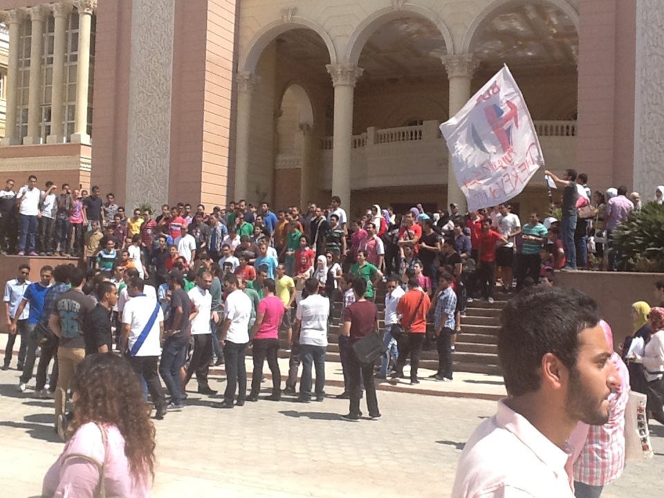 Students gather during a protest outside the British University in Cairo buildings Omar Elalfy