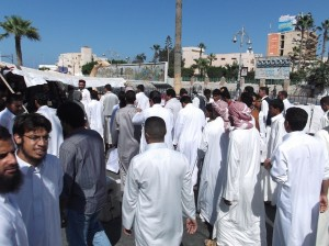 Protesters gather in front of the governorate office in Marsa Matruh Mohamed Farag