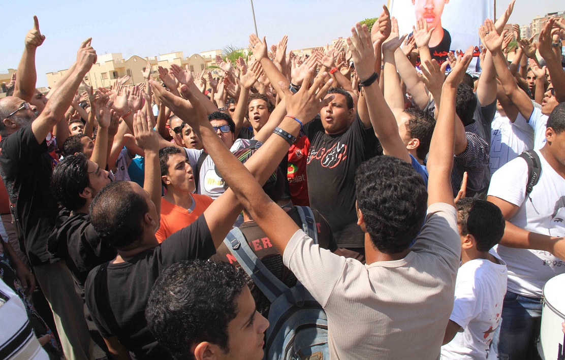 Ultras supporters protesting infront of the Police Academy where the trial was held on September 3, 2012 (Mohamed Omar)