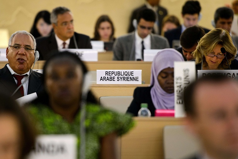 Empty seat of the Syrian delegation at a session of the United Nations Human Right Council in Geneva AFP PHOTO / FABRICE COFFRINI