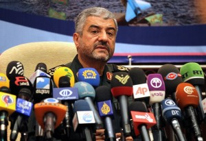 Iranian Revolutionary Guards commander Brigadier General Mohammad Ali Jafari holds a press conference in Tehran AFP PHOTO/ATTA KENARE