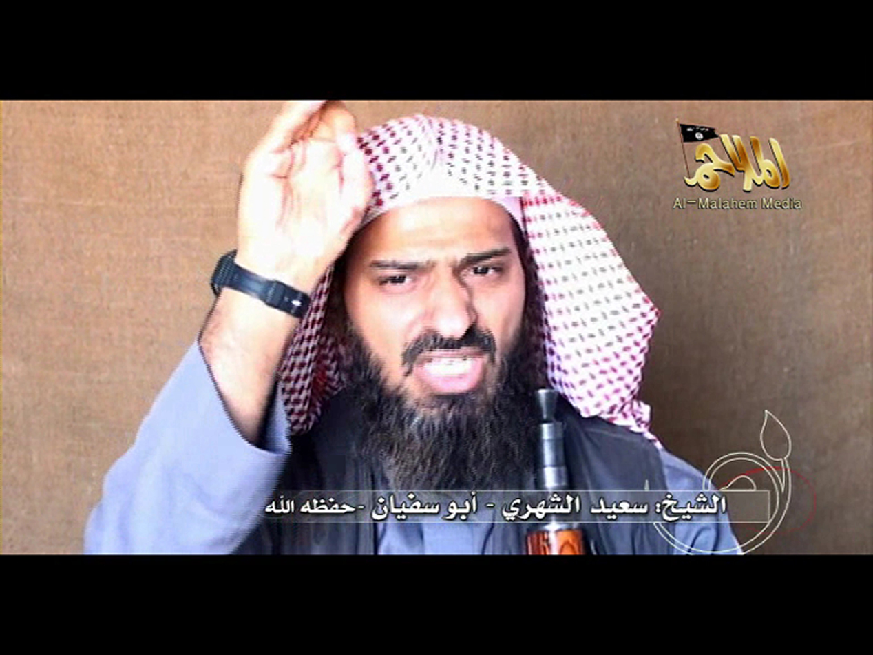 Screenshot of a video posted on the Internet by Al-Malahem Media Foundation, the media arm of Al-Qaeda in the Arabian Peninsula, on 6 October, shows second in command Saeed al-Shehri AFP PHOTO / HO / AL-MALAHEM MEDIA FOUNDATION