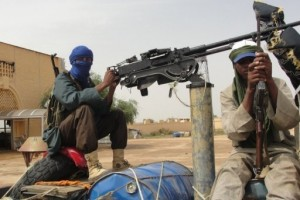 Fighters of the Islamic group of Mujao stand guard near Gao airport (File photo) AFP PHOTO