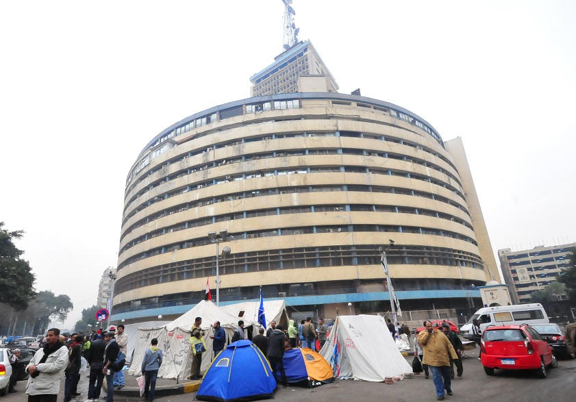 Protesters gather outside the state TV Maspero building Hassan Ibrahim