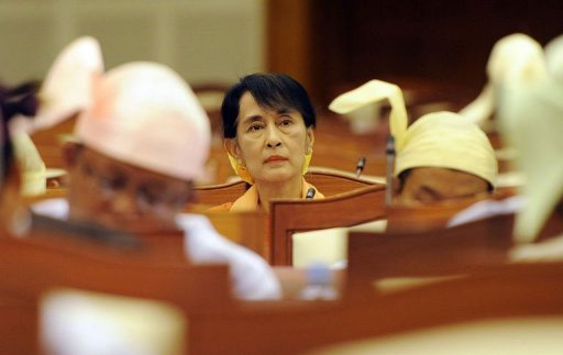 Aung San Suu Kyi's Myanmar opposition party has welcomed a US decision to ease Myanmar sanctions AFP Photo / Soe Than Win
