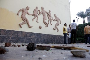 Debris outside the headquarters of Egypt's Football Association in Cairo AFP PHOTO / Stringer