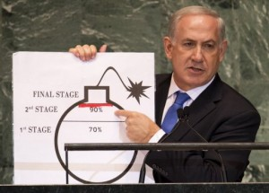Benjamin Netanyahu, Prime Minister of Israel, uses a diagram of a bomb to describe Iran's nuclear program AFP, Don Emmert